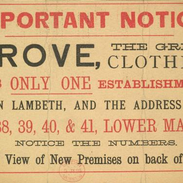 Notice: Grove, the great clothier, 1885 © The British Library Board