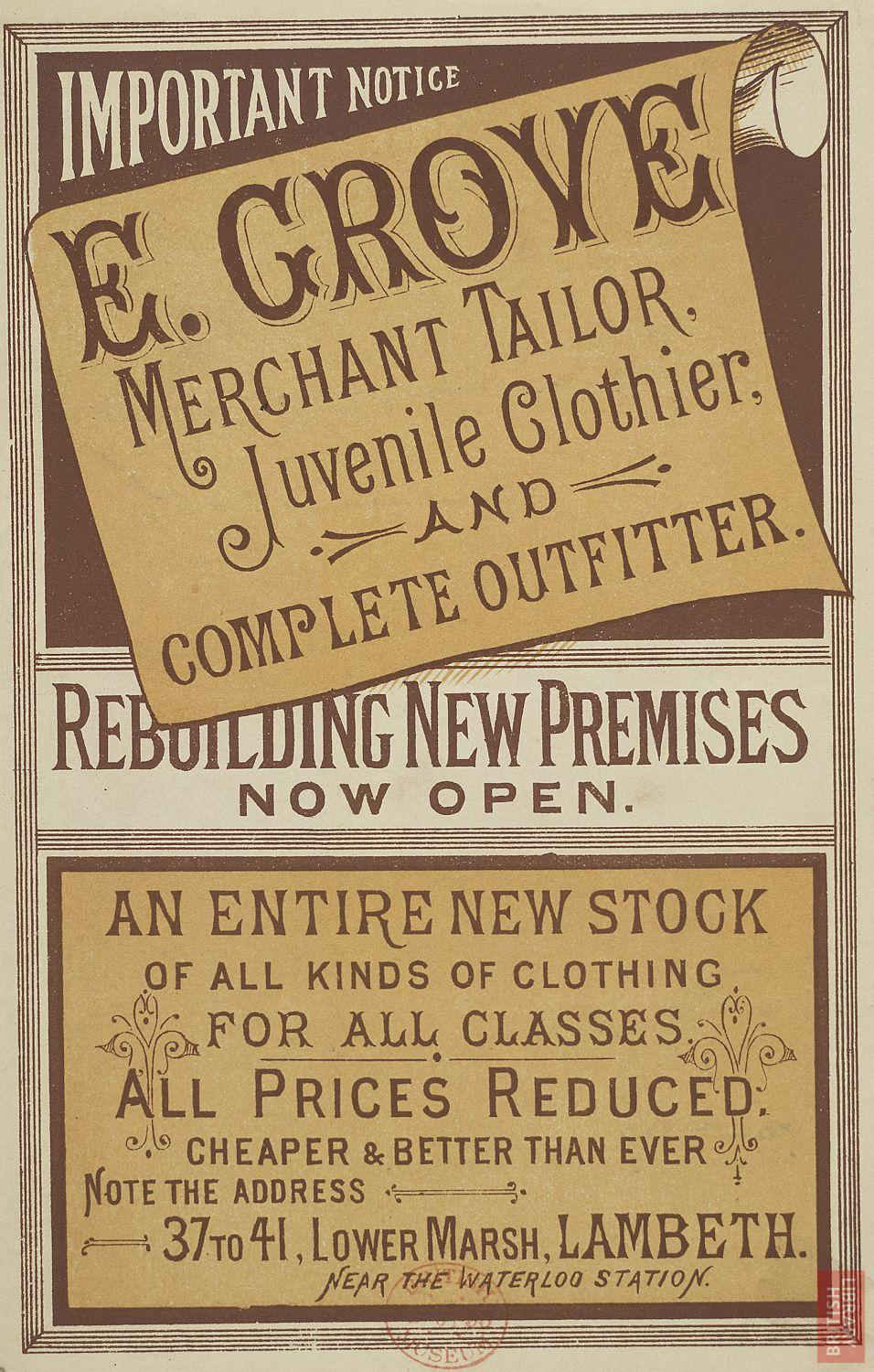 Advertisement: New premises at Lambeth of E. Grove, tailor, clothier and complete outfitter, 1884. © The British Library Board