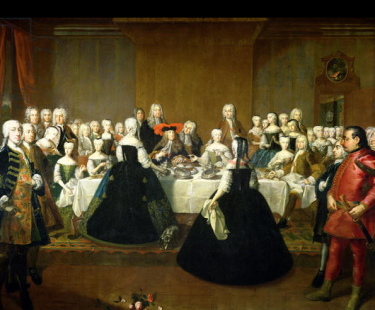 Maria Theresa and Francis Stephen at their wedding breakfast, by Martin van Meytens. Charles VI (in the red-plumed hat) is seated at the center of the table.