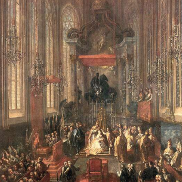 Maria Theresa being crowned Queen of Hungary, St. Martin's Cathedral, Pressburg.